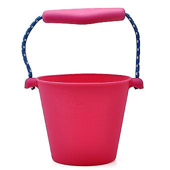 Portable Silicone Beach Sand Buckets Toy For Kids Camping Fishing Storage(Pink)