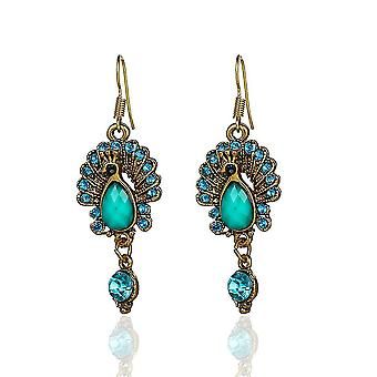 Boucles d'oreilles Han Dynasty Chinois Traditionnel Peacock Diamond Embeded Jewelry For Daily Use