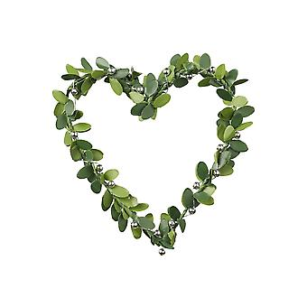 7cm Heart Shaped Wreath | Artificial Leaves & Silver Decoration
