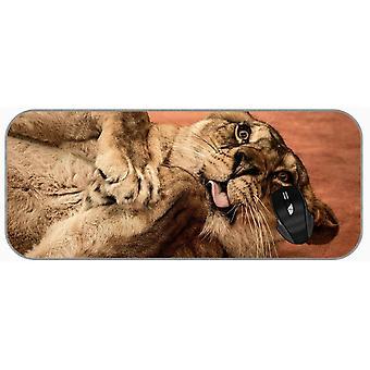 (750X300X3) XXL מחצלת עכבר גדולה חתול גדול חיות בר אריה ביטוי עצוב משחק מורחב עכבר