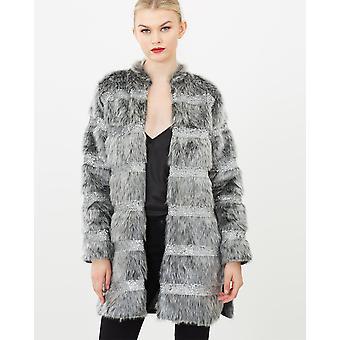 Faux Fur Sequin Coat