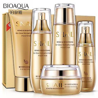 Gold Snail Face Skin Care Set Toner Essence Milk Cleanser Korea Facial Set|Body Glitter(Golden)