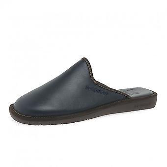 Nordikas 131 Dublin Men's Luxury Leather Slippers In Navy