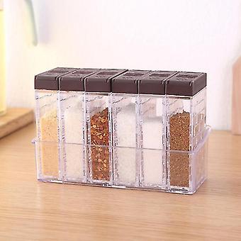 Juego de 6 piezas de recipientes de frascos de almacenamiento de especias (café)