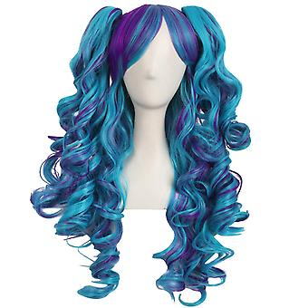 Multi-color Lolita Long Curly Clip On Ponytails Cosplay Wig
