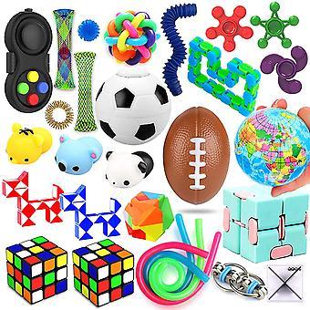 Pakke med 28 sensorisk legetøj, lindrer stress og angst Fidget Legetøj til børn Voksne Særlige sortiment af legetøj til gunstige fødselsdagsfester