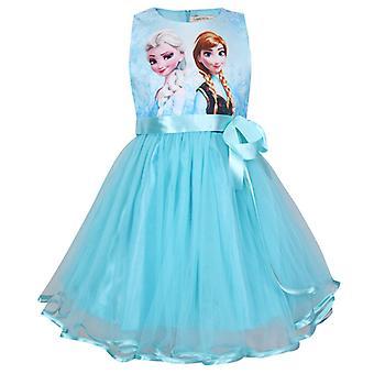 Kid Girl Frozen Princess Anna Elsa Robe Party Sleeveless Tutu Sundress