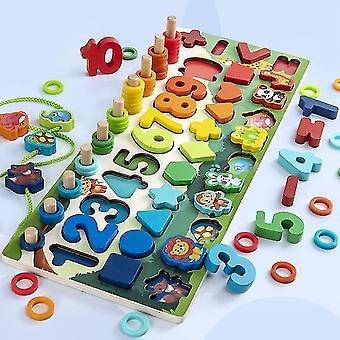 Montessori Éducatif Jouets en bois Enfants Occupé Planche Math Pêche Enfants En bois