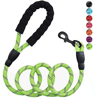 5ft 1/2in Strong Green Dog Leash For Large Dogs & Medium Size Dogs - Highly Reflective Heavy Duty Dog Rope Leash With Soft Padded Anti-slip Handle