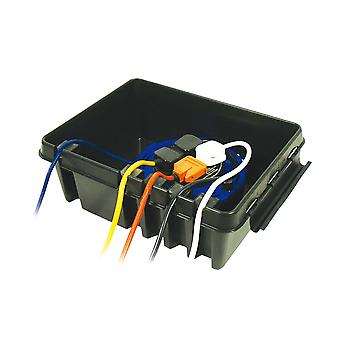 Large Weatherproof Plastic Dribox for 4 sockets ideal for outdoor Lighting Equipment, Black Edition