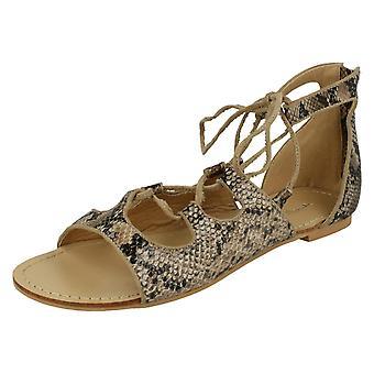 Ladies Spot On Snake Print Flat Sandals
