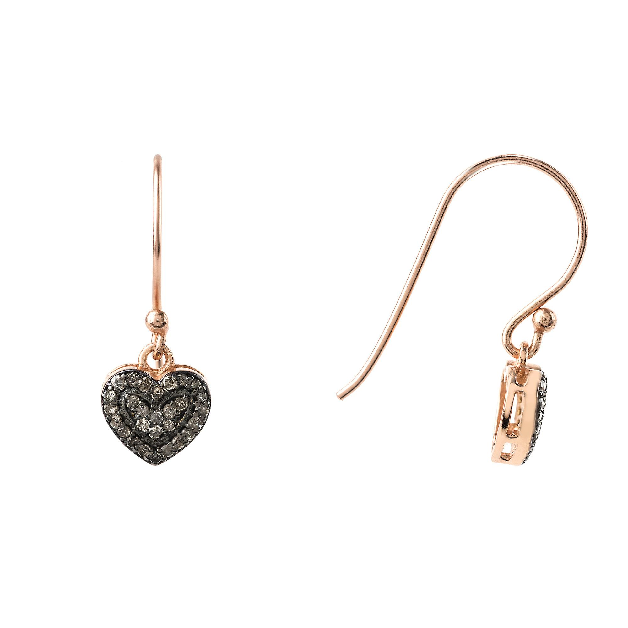Latelita Small Heart Hook Drop Diamond Earrings  Sterling Silver 22ct Rose Gold