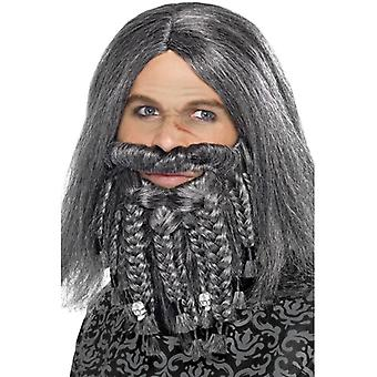Pirat paryk med skæg grå terror af havene piratkaptajn