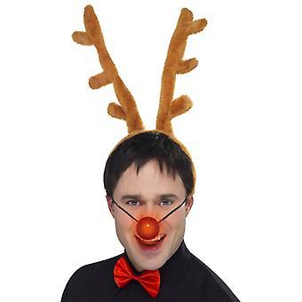 Reindeer Christmas Santa set 3-piece set horns on headband light nose
