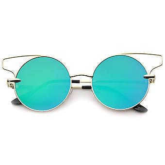 Women's Wire Open Metal Frame Color Mirror Flat Lens Round Cat Eye Sunglasses 52mm