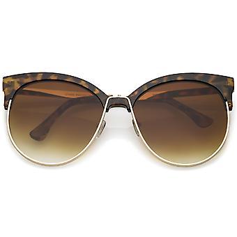 Oversize róg oprawie kot oczu okulary okrągłe płaskie soczewki pół rama 61mm