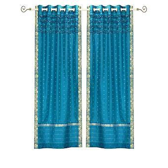 Turchese Hand Crafted gommino superiore Sari pura tenda a pannello - pezzo
