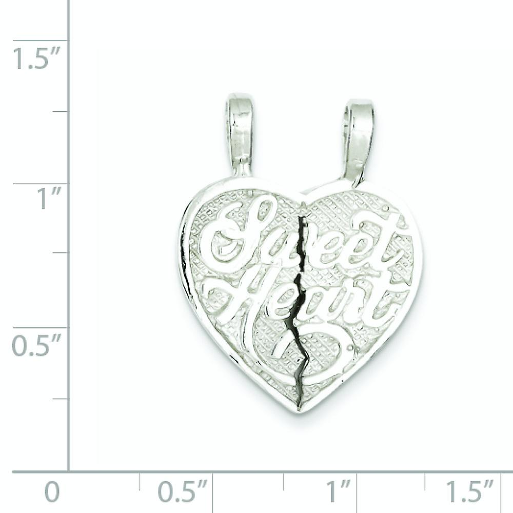 925 Sterling Silver Solid Polished Two piece Textured back Sweet Love Heart 2 Piece Break Apart Heart Charm Pendant Neck