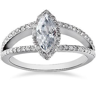 1 1/2ct Marquise Diamond Halo Split Shank Engagement Ring 14k White Gold
