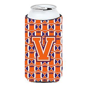 Letter V Football Orange, White and Regalia Tall Boy Beverage Insulator Hugger
