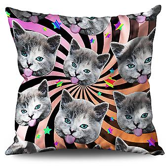 Stars Pattern Funny Cat Linen Cushion 30cm x 30cm | Wellcoda