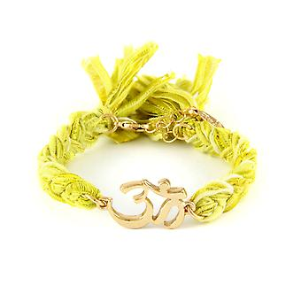Ettika - Yellow Gold Om Bracelet and Cotton Yellow Braided Ribbons 2309