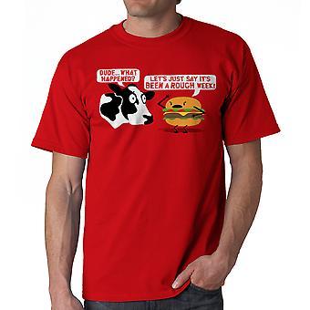 Humor camiseta roja áspera semana hombres