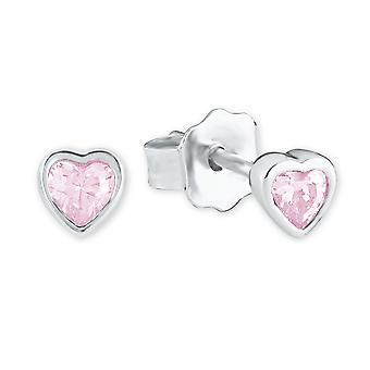 Prinsesse Lillifee børn sølv hjerte øreringe pink 2021046