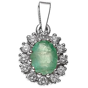 Rhodium-plated pendant charm 925 1 Emerald sterling silver with cubic zirconia