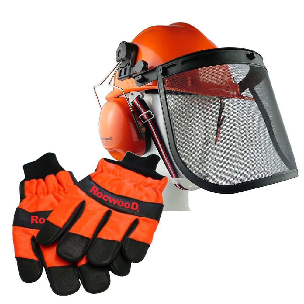 Chainsaw Safety Helmet, Hard Set & Large Gloves Ideal For Husqvarna Users