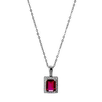 Orphelia 925 Silver hänge med kedja 42 CM rektangel med Ruby och zirkonium