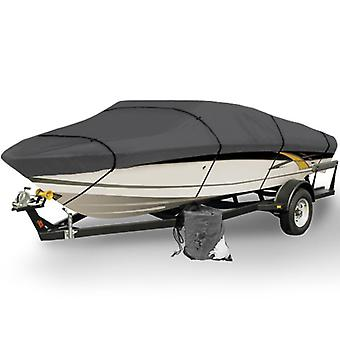 Gray Heavy Duty Waterproof Mooring Boat Cover Fits Length 20' 21' 22' Superior Trailerable Boat 600 Denier V-Hull Fishing Ski Boat Runabout Pro Bass Inboard Outboard Boat Covers