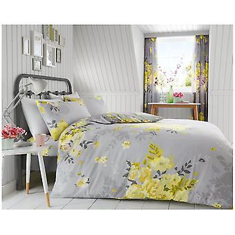 Alice Yellow Flowers Duvet Quilt Cover Polycotton Floral Bedding Set Pillow Case