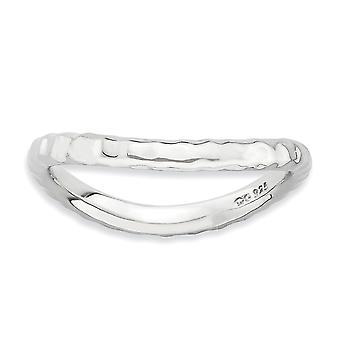 2.25mm 925 sterling sølv rhodium belagt stables uttrykk polert Rhodium plate bølge ring smykker gaver til kvinner