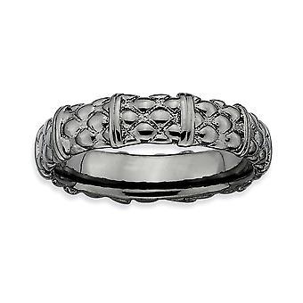 925 Sterling hopea kiillotettu kuviollinen ruthenium pinnoitus pinottava ilmaisuja mustakullattu rengas korut lahjat naisille