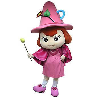 mascot SPOTSOUND fairy pink, with a hat and a wand