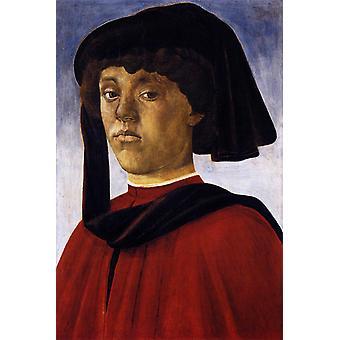 Portrait of a Young Man, Sandro Botticelli, 60x40cm