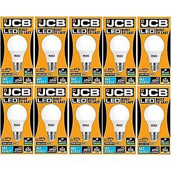 10 X JCB LED GLS Opal (Frosted) Household Light Bulb 10w Edison Screw 3000k Warm White[Energy Class A+]