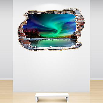 Full Colour Northern Lights Smashed Wall 3D Effect Wall Sticker