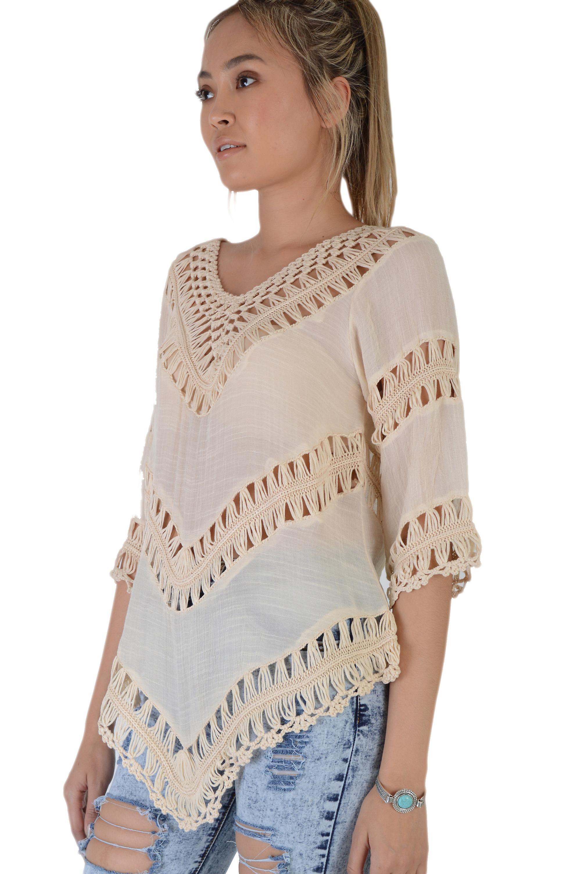 Lovemystyle Lace Crochet Insert Nude Kimono Style Top - SAMPLE
