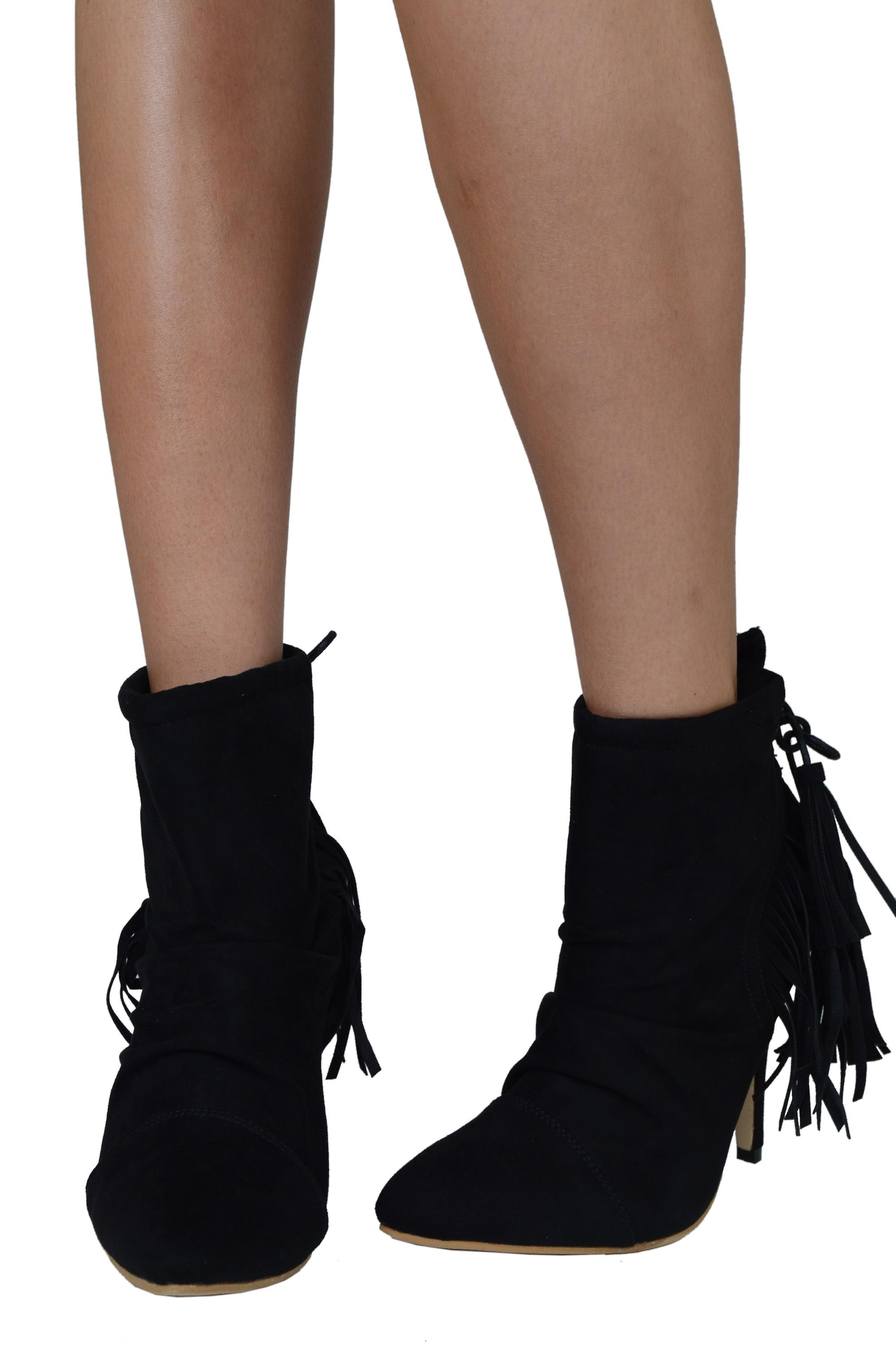 Lovemystyle Black Suede Ankle Boots With Fringe Back Detail