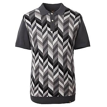PRETTY GREEN Pretty Green Grey Chevron Blocked Knitted Polo