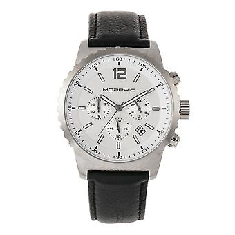 Morphic M67 Series Chronograph Leather-Band Watch w/Date - Silver/Black