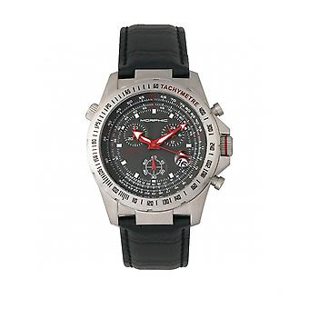 Morphic M36 Series Leather-Band Chronograph Watch - Silver/Charcoal