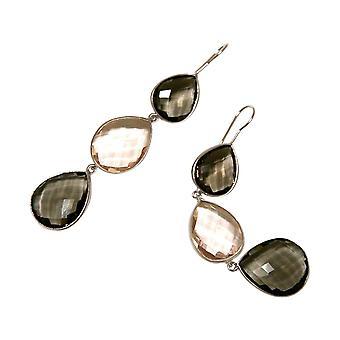 Gemshine örhängen rökig kvarts och ros kvarts droppar. 925 silver eller guldpläterad