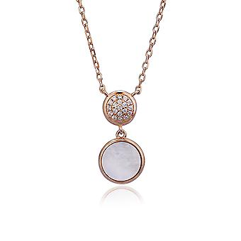 Orphelia Silver 925 Necklace with Pendant Rose with Mother of Pearl and Zirconium Stones 45 CM