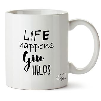 Hippowarehouse Life Happens Gin Helps Printed Mug Cup Ceramic 10oz