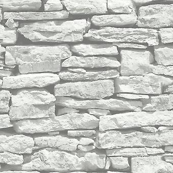 Arthouse VIP marokański cegła mur efekt szary tapeta biały