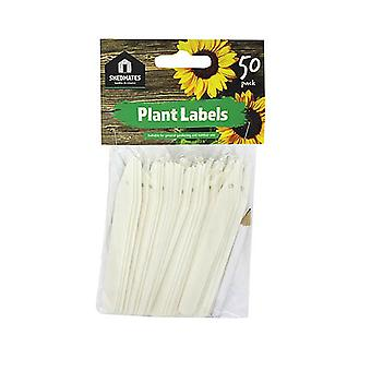 Pack of 50 Shedmates GSP202 White Plastic Write On Plant Labels 12.5cm (5