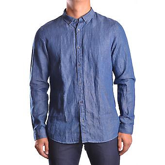 Michael Kors Ezbc063005 Men's Blue Cotton Shirt